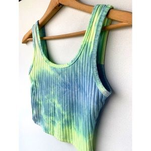 Small, lime green and blue tie dye crop tank top